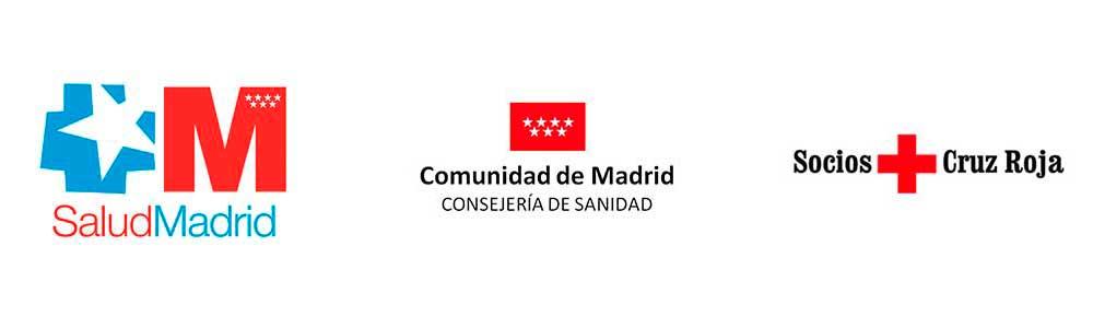 logos SaludMadrid, Comunidad de Madrid y Cruz Roja